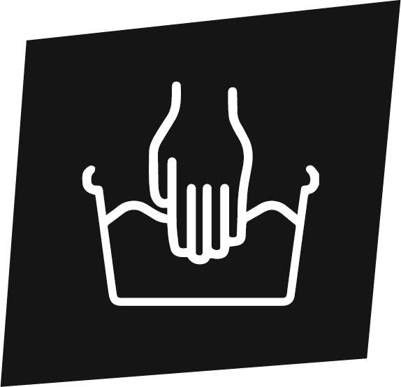 Icone de lavage à la main d'un sac à dos écologique