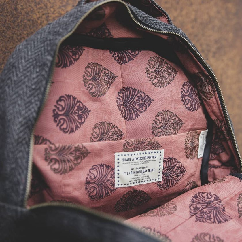 sac a dos en chanvre naturel et upcycling