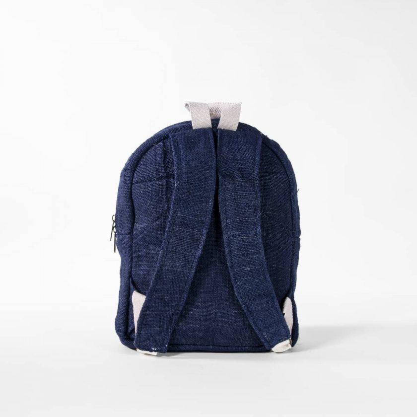 Petit sac à dos écologique en chanvre et teintures naturelles nantah indigo dos