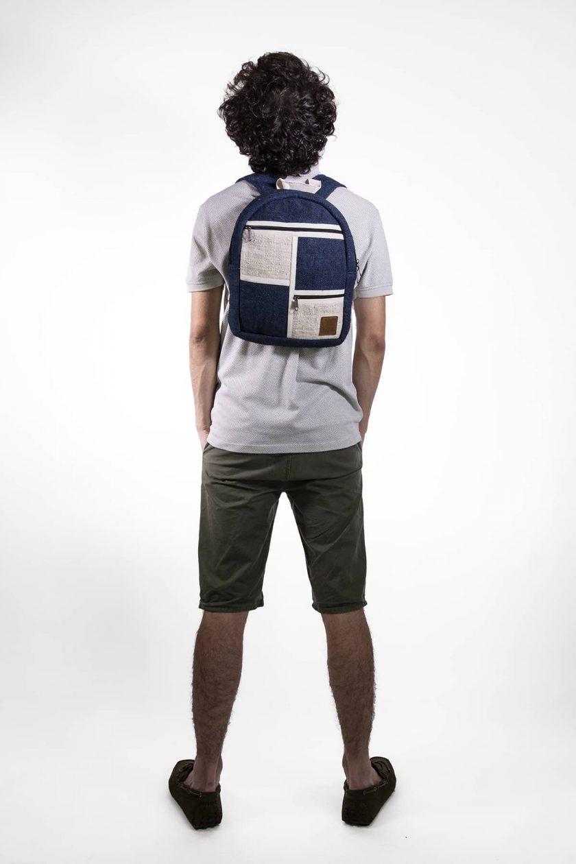 Petit sac à dos écologique en chanvre et teintures naturelles nantah indigo homme