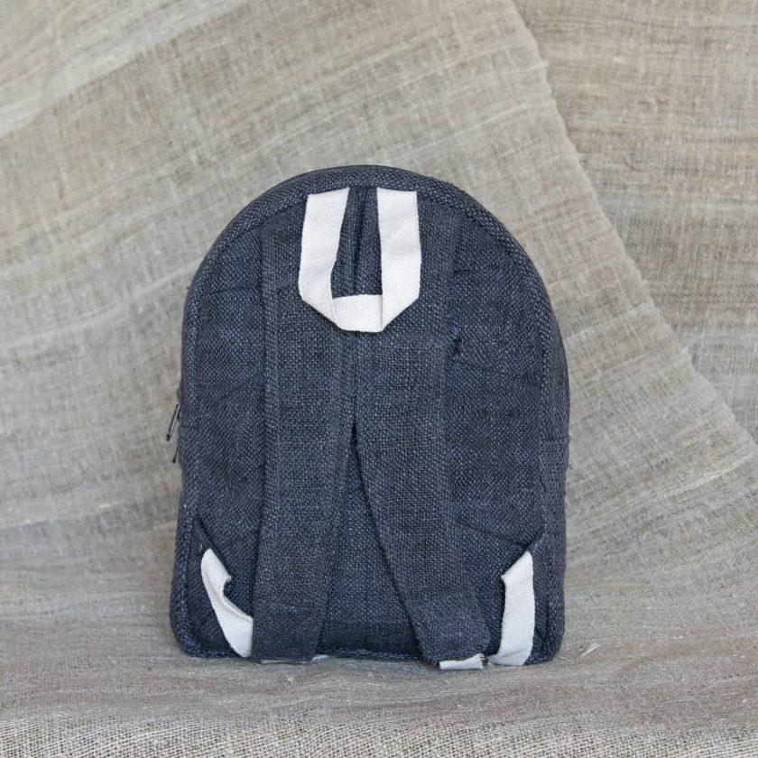 Petit sac à dos écologique en chanvre et teintures naturelles nantah anthracite dos