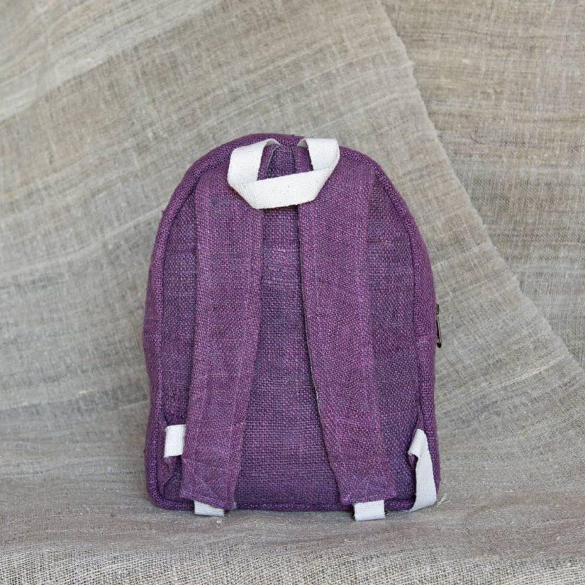 Petit sac à dos écologique en chanvre et teintures naturelles nantah framboise dos