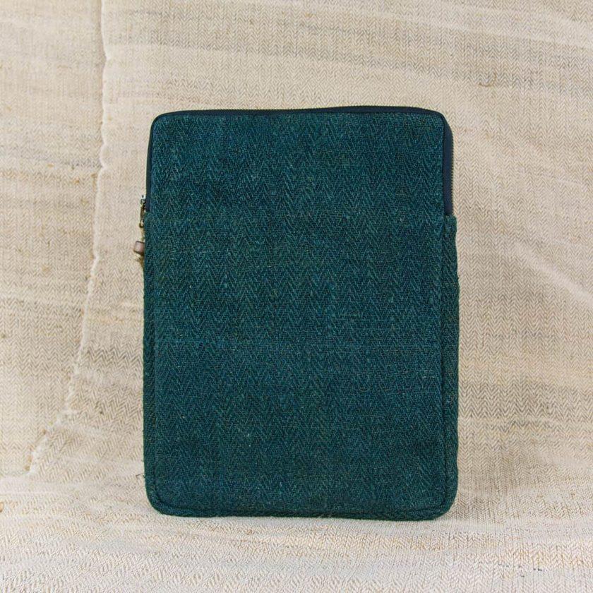 Pochette ordinateur écologique en chanvre fait main 13 pouces couleur verte