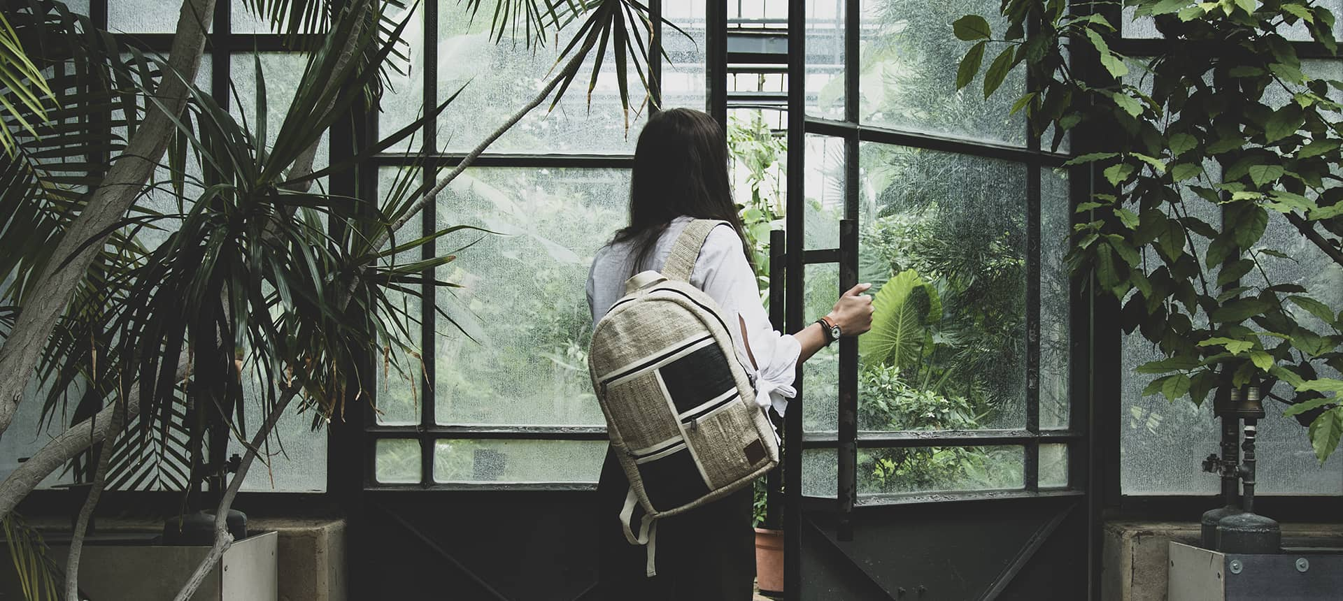 Sac à dos vegan en chanvre jardin botanic