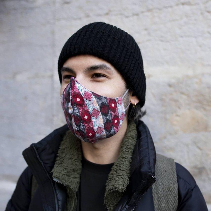 Masque en coton upcyclé pour homme motifs