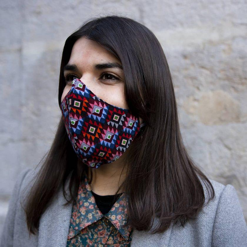 Masque en coton upcyclé pour femme motifs