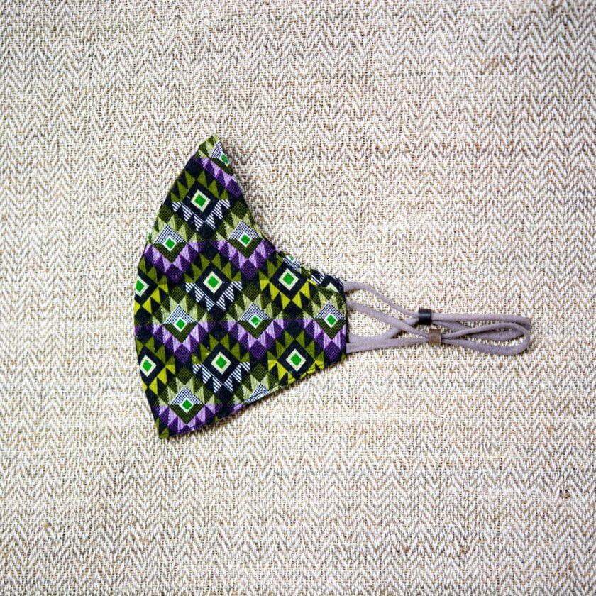 Masque coton violet motifs