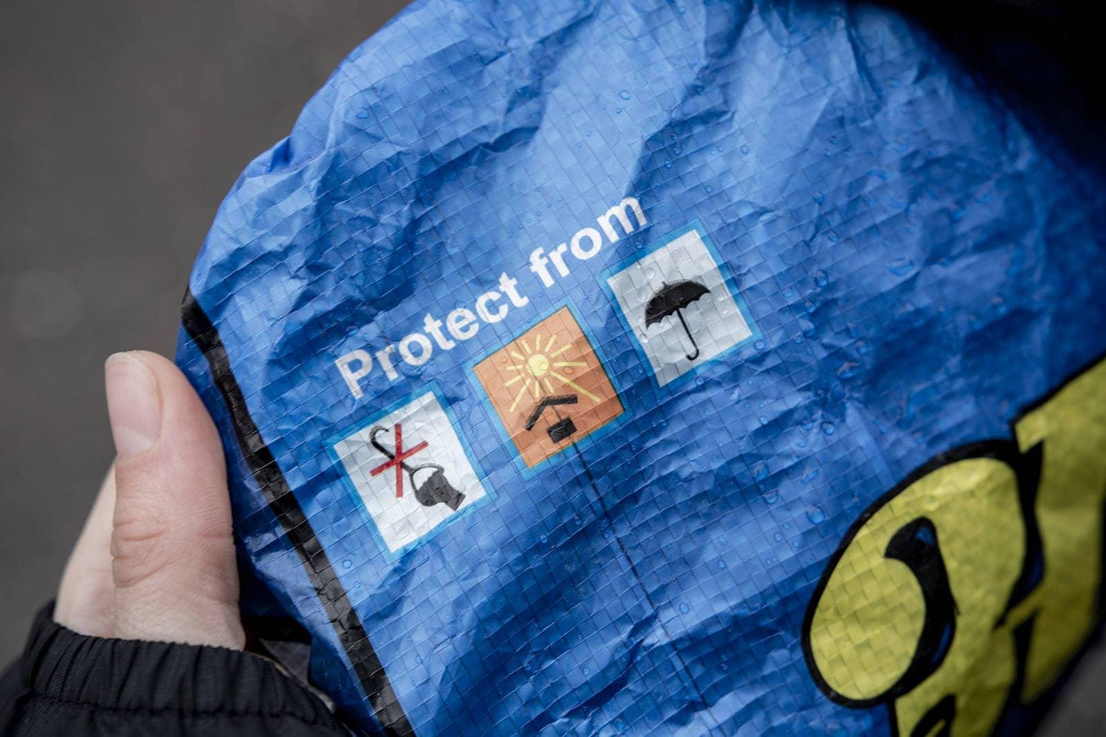 Protection contre la pluie upcyclee sac à dos